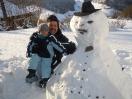 Tim und Roli mit Schneemann